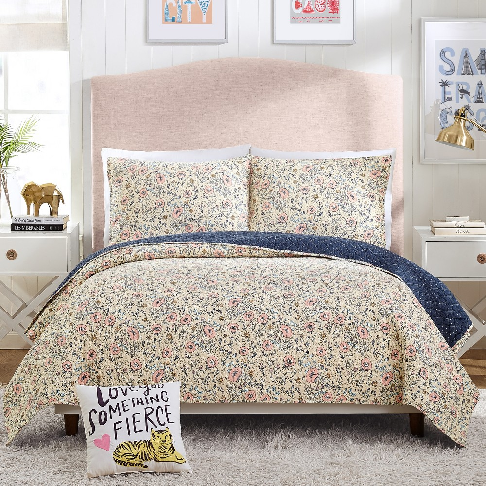 Image of 3pc Full/Queen Provencal Poppies Quilt Set Pink - Hello Lucky for Makers Collective