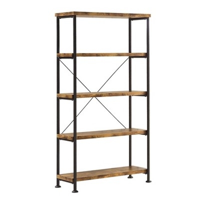 Coaster Furniture Barritt Collection 5 Shelf Durable Heavy Duty Steel Metal 63 inch Bookcase Shelf, Antique Nutmeg Finish with Black Metal Frame