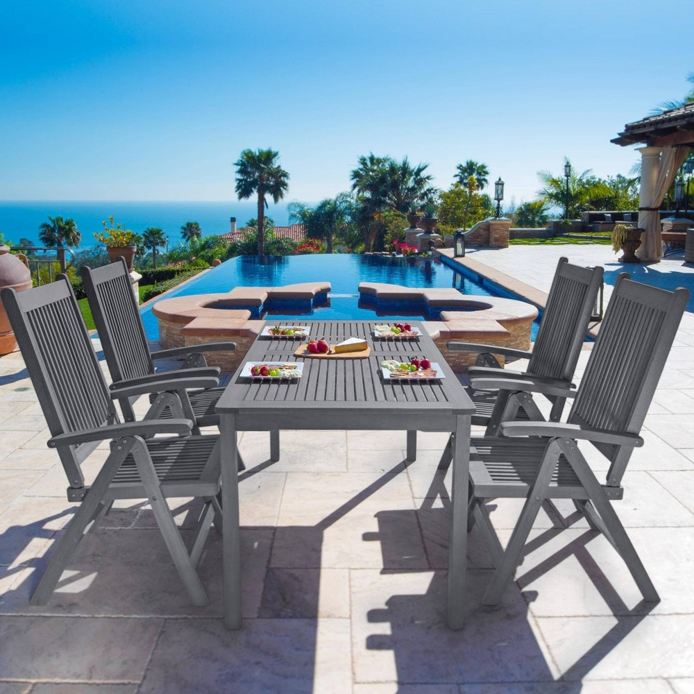 Renaissance Outdoor Patio Hand-Scraped Wood 5pc Dining Set with Reclining Chairs, Mid Gray