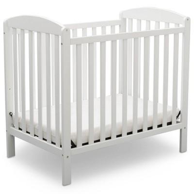 Delta Children Emery Mini Convertible Baby Crib with Mattress - Bianca White