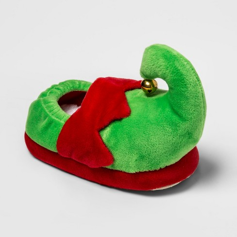 Kids' Holiday Elf Slide Slippers - Wondershop™ Green - image 1 of 5