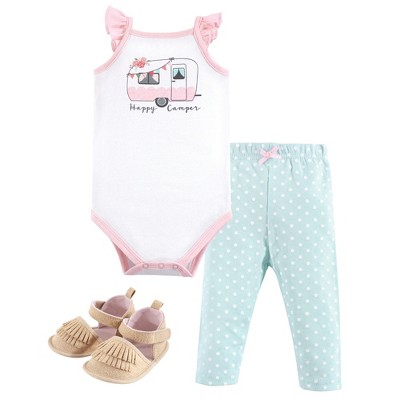 Hudson Baby Infant Girl Cotton Bodysuit, Pant and Shoe 3pc Set, Pink Happy Camper