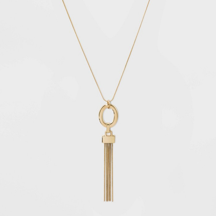 Oval and Chain Tassel Long Necklace - A New Day™ Gold - image 1 of 2