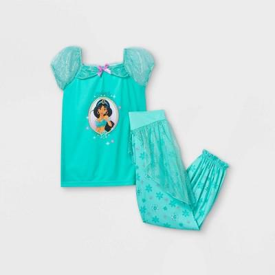 Girls' Disney Princess Jasmine 2pc Pajama Set - Green