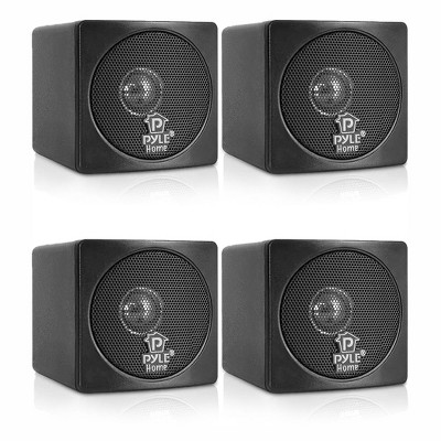 Pyle PCB3BK Full Range 3 Inch 100 Watt Mini Cube Bookshelf Stereo Speakers for Home Theater Surround Sound System with Video Shield, Black (4 Pack)