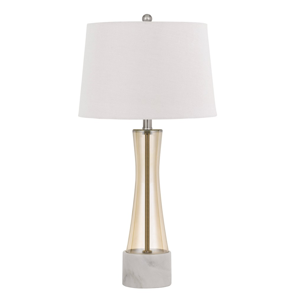 Image of 150W 3 Way Cabra Glass Table Lamp With Fabric Shade - Cal Lighting