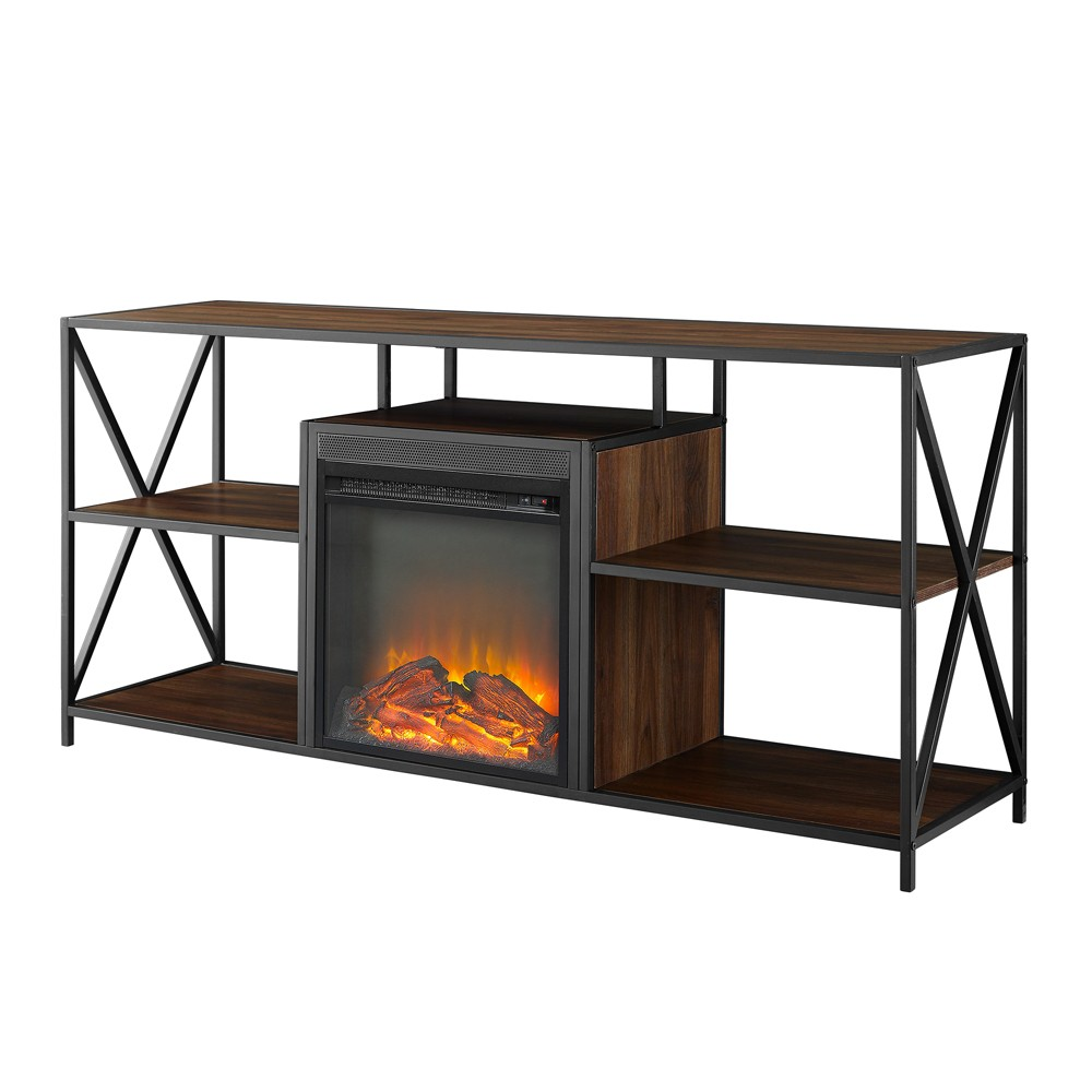 60 X Frame Open Shelf Fireplace Dark Walnut - Saracina Home