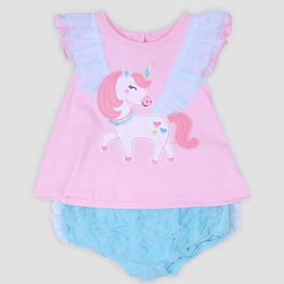 Baby Girls' Unicorn Applique Jersey Top and Ruffle Diaper Cover Set Nate & Annee™ Light Pink 0-3M
