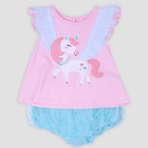 Baby Girls' Unicorn Applique Jersey Top and Ruffle Diaper Cover Set Nate & Annee™ Light Pink - image 1 of 1