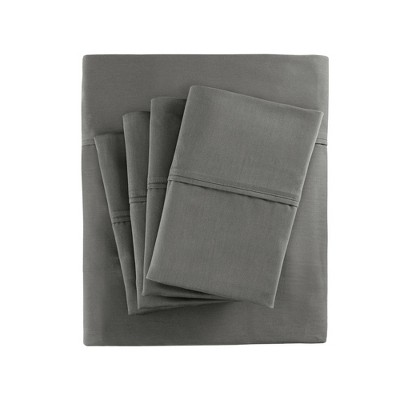 King 6pc 800 Thread Count Cotton Blend Sheet Set Charcoal