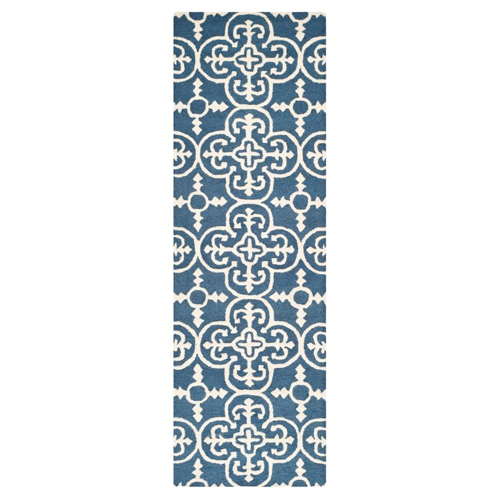 2'6X10' Geometric Runner Navy/Ivory (Blue/Ivory) - Safavieh
