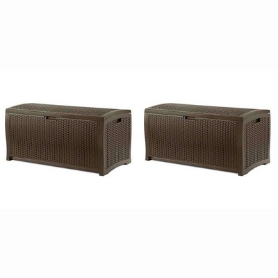 Suncast 73 Gallon Mocha Wicker Resin Outdoor Patio Storage Deck Box (2 Pack)