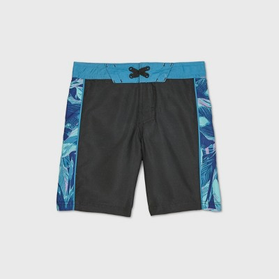 Boys' Floral Side Print Swim Trunks - art class™ Black