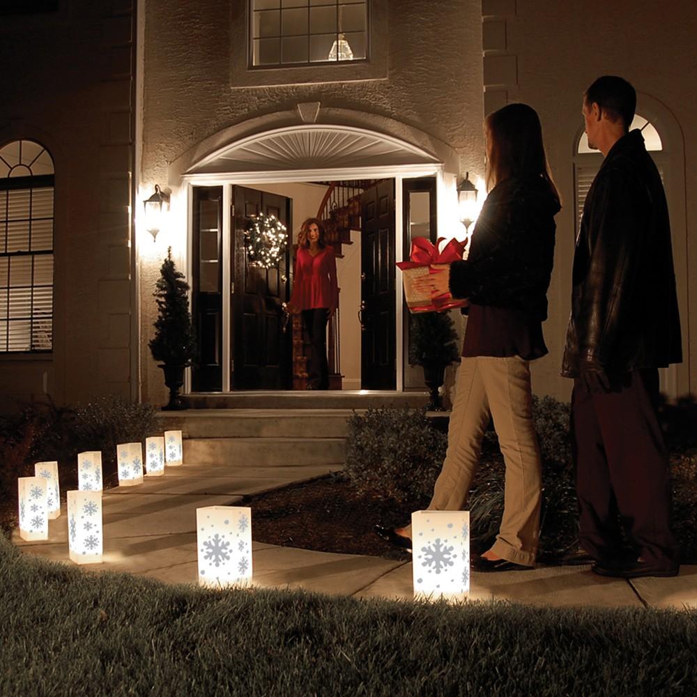 Image of 10ct Plastic Snowflake Luminaria Lanterns