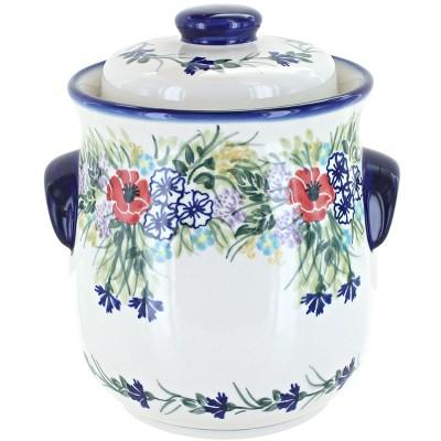 Blue Rose Polish Pottery Summer Garden Cookie Jar