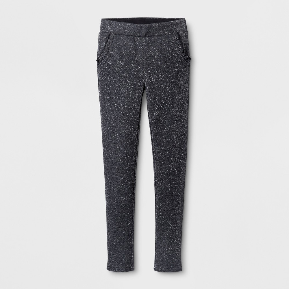 Girls' Ruffle Pocket Fashion Pants - Cat & Jack Black M