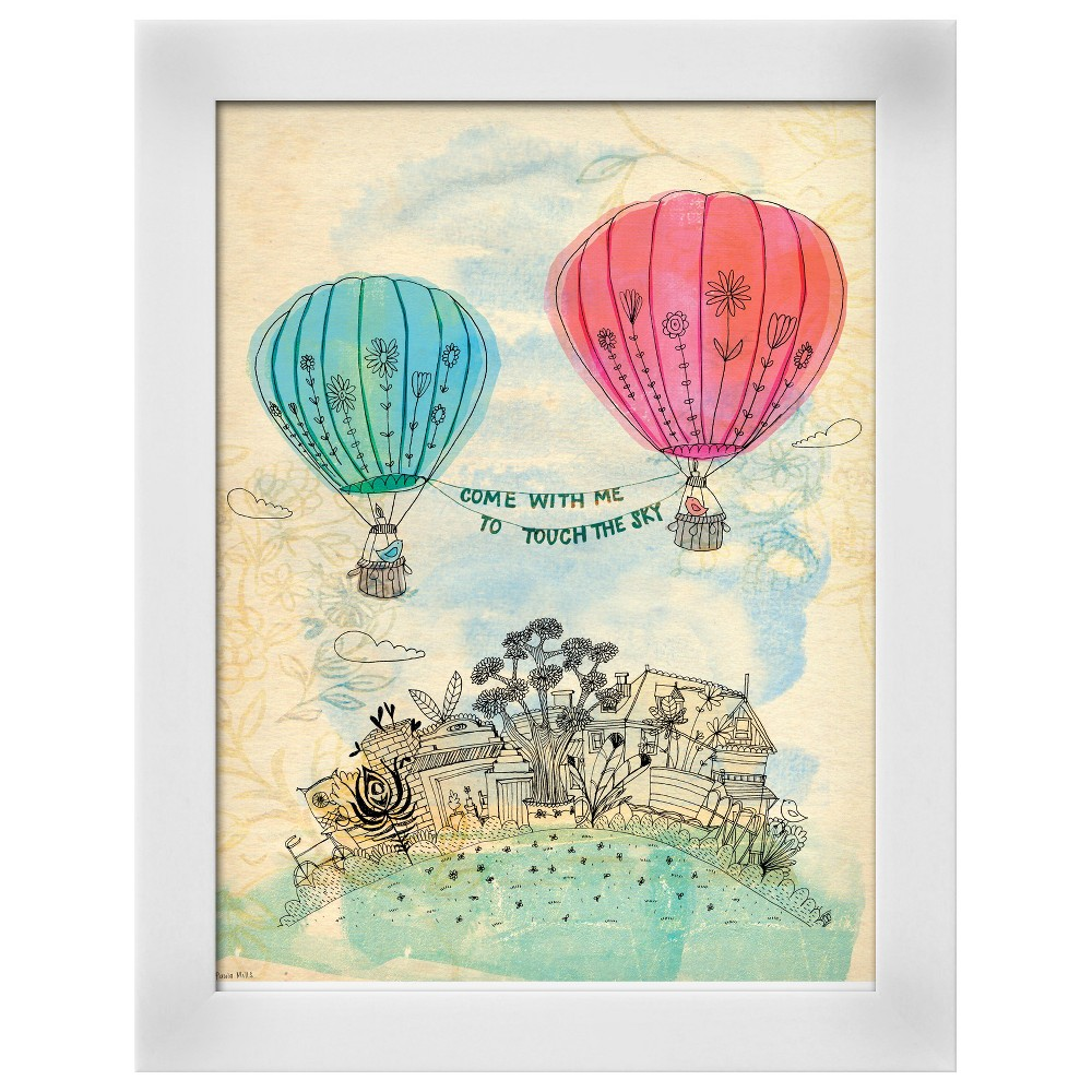 Touch The Sky Blue And Read White Wood Framed Art Print