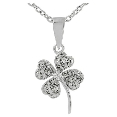 1/3 CT. T.W. Round-cut CZ Pave Set Four Leaf Clover Pendant Necklace in Sterling Silver - Silver - image 1 of 3