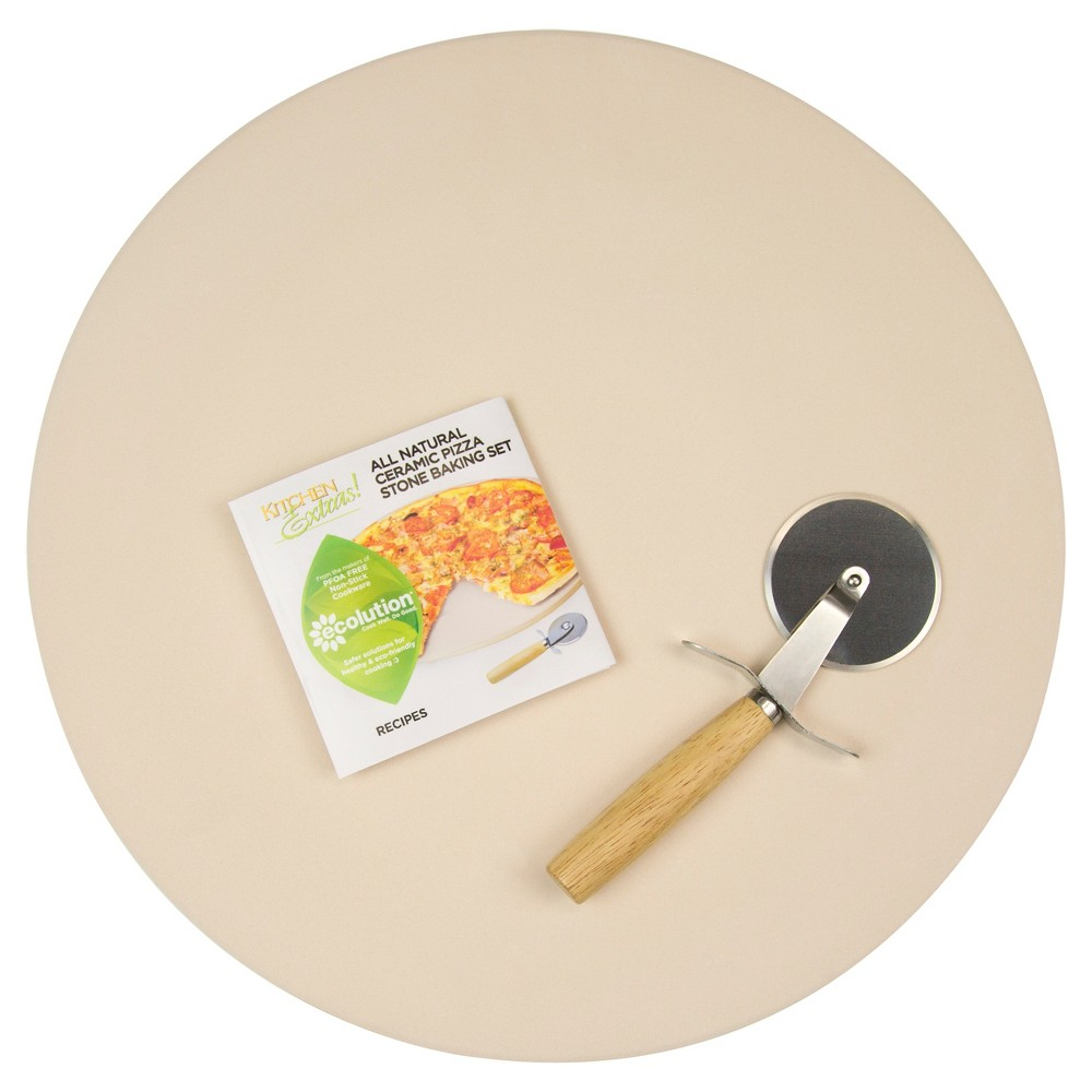 Kitchen Extras 15 Pizza Stone with Wooden Handle Cutter, Natural