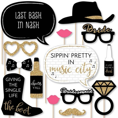 Big Dot of Happiness Nash Bash - Nashville Bachelorette Party Photo Booth Props Kit - 20 Count
