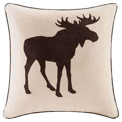Tan Moose Embroidered Suede Throw Pillow (20x20)