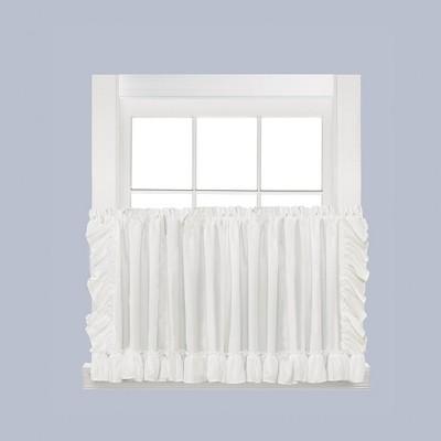 Saturday Knight Ltd Sarah Soft Ruffled Edges 2-Piece Window Tier - White