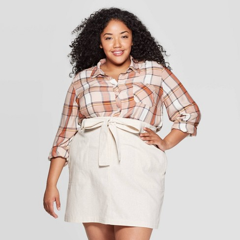 Women's Plus Size Plaid Long Sleeve Collared Button-Down Shirt - Universal Thread™ - image 1 of 3