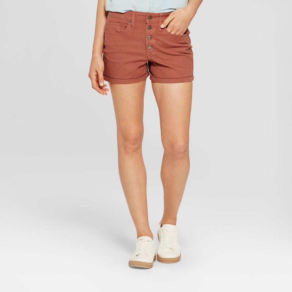 Women's High-Rise Midi Utility Jean Shorts - Universal Thread Brown 16