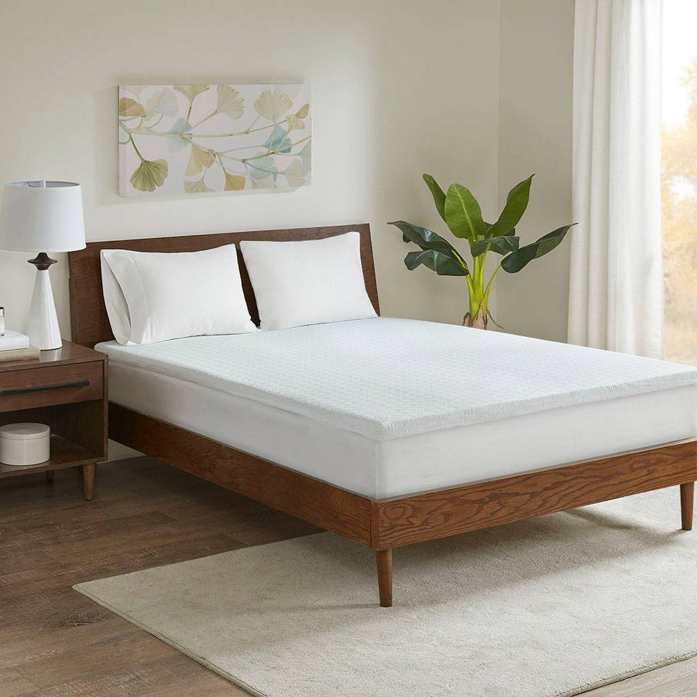 "Image of ""2"""" Memory Foam Mattress Topper (King) White"""
