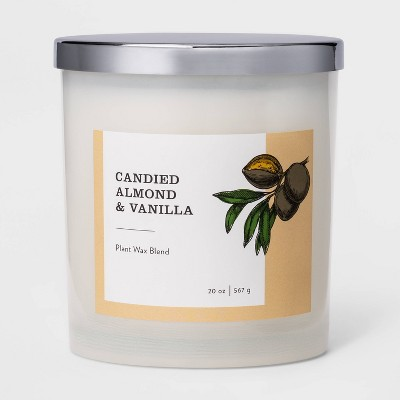 20oz Milky Glass Jar 3-Wick Candle Candied Almond & Vanilla - Threshold™