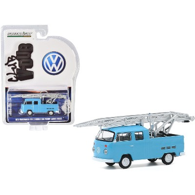 "1973 Volkswagen Type 2 Double Cab Pickup Ladder Truck Light Blue ""Club Vee V-Dub"" Series 11 1/64 Diecast Model Car by Greenlight"
