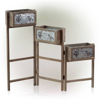 3 Tier Rectangular Wooden Plant Stand With Metal Plate - Alpine Corporation