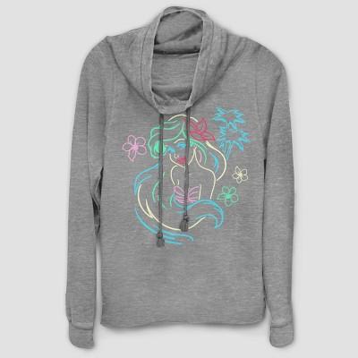 Women's Disney Princess Ariel Lights Graphic Sweatshirt - Gray