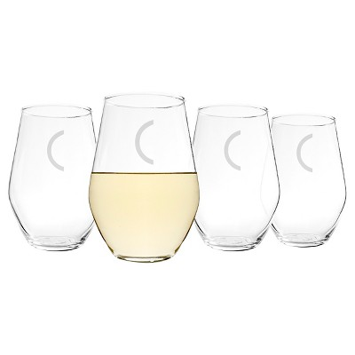 Cathy's Concepts 19 oz. Personalized Contemporary Stemless Wine Glasses (Set of 4)-C
