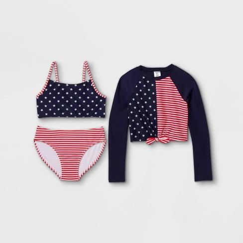 Girls' Stars and Striped Bikini 3pc Long Sleeve Cropped Rash Guard Set - art class™ Blue - image 1 of 2