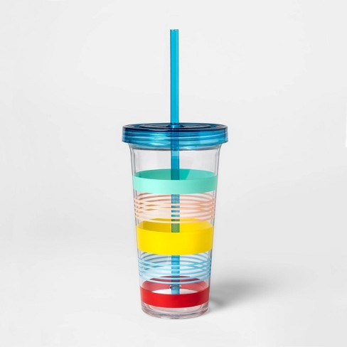 23oz Plastic Variegated Stripe Tumbler with Lid and Straw - Sun Squad™ - image 1 of 1