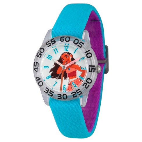 Girls' Disney Moana Clear Plastic Time Teacher Watch - Blue - image 1 of 2