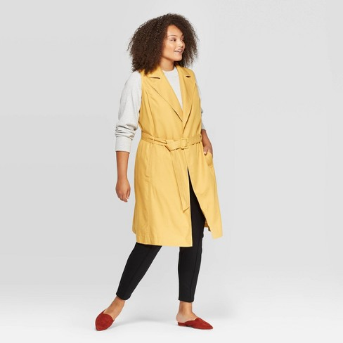 amazing selection discount shop united kingdom Women's Plus Size Sleeveless Trench Coat - A New Day™ Yellow