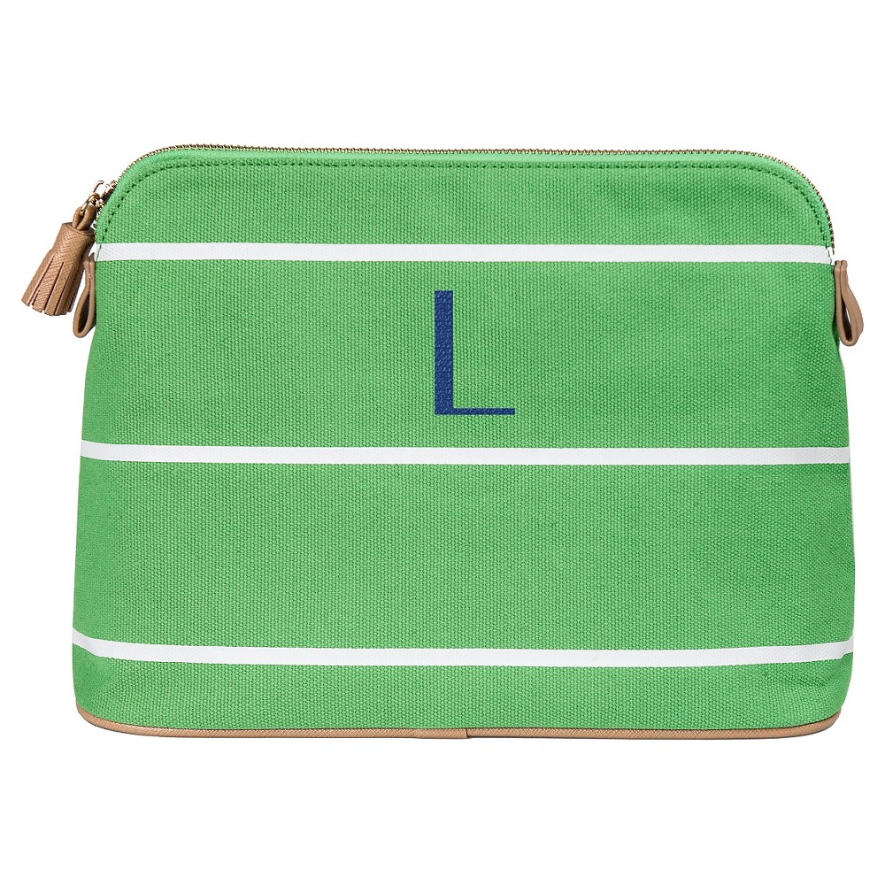 Personalized Green Striped Cosmetic Bag - L