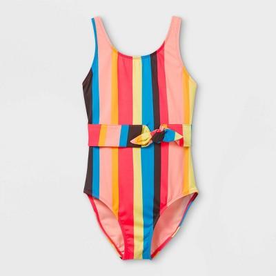 Girls' Magical Water Vertical Striped One Piece Swimsuit - art class™