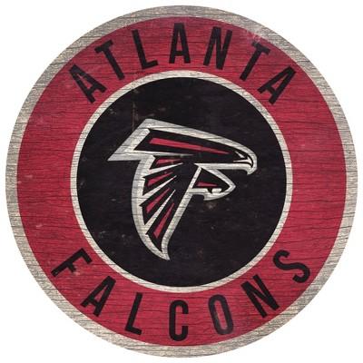 "NFL Atlanta Falcons Retro Circle Wooden Wall Art - 12"""