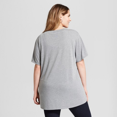 252ffa9093a Women s Plus Size Savage Short Sleeve Crew Neck T-Shirt - Modern Lux ( Juniors ) - Gray   Target