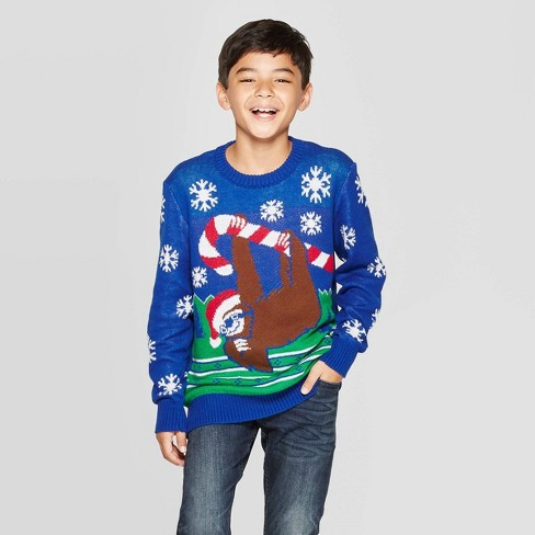 Well Worn Boys' Candy Cane Sloth Ugly Christmas Sweater - Blue - image 1 of 3