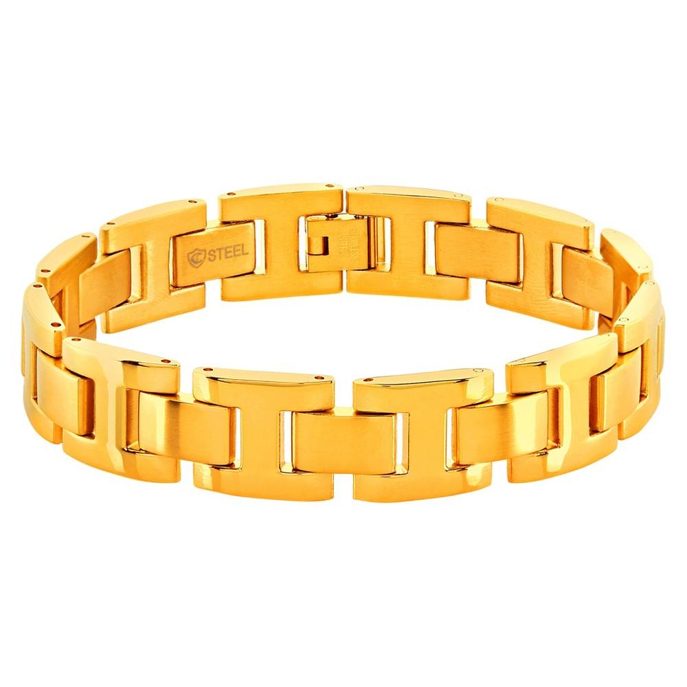 Men's Crucible Dual Finish H Link Bracelet - Gold (8.5)