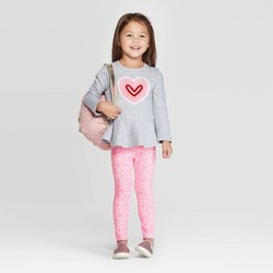 Toddler Girls' Heart Long Sleeve Top and Bottom Set - Cat & Jack™ Heather Gray