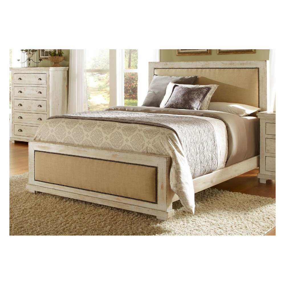 Queen Willow Upholstered Headboard Distressed White - Progressive
