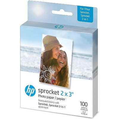 """HP Sprocket 2x3"""" Premium Zink Sticky Back Photo Paper (100 Sheets) Compatible with HP Sprocket Photo Printers."""