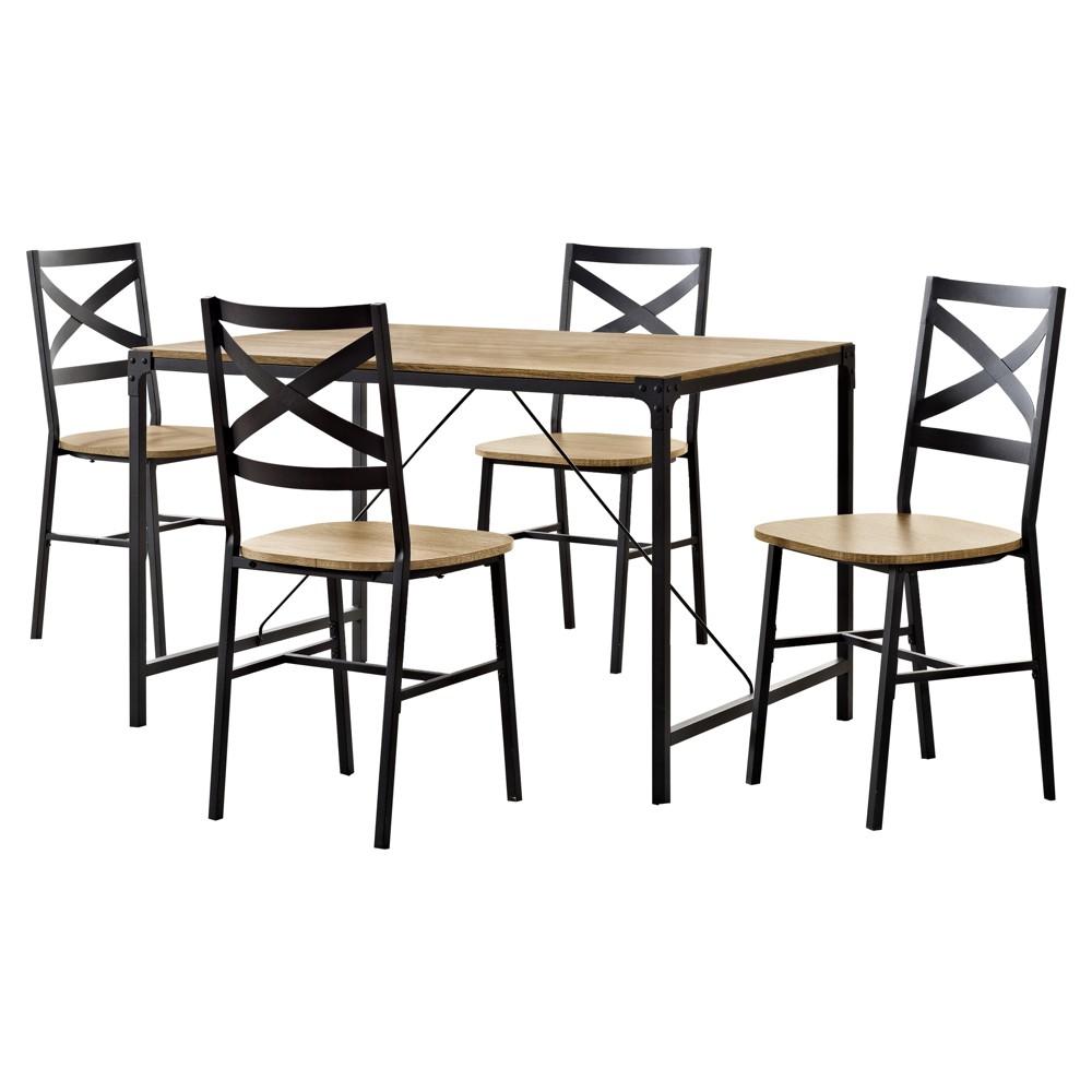 5 - Piece Angle Iron Wood Dining Set - Barnwood - Saracina Home