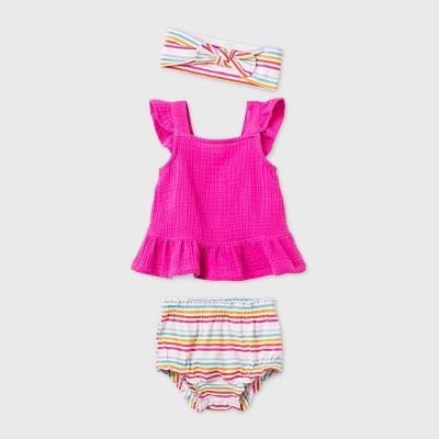 Baby Girls' Rasberry Gauze Knit Top & Bottom Set - Cat & Jack™ Pink 6-9M