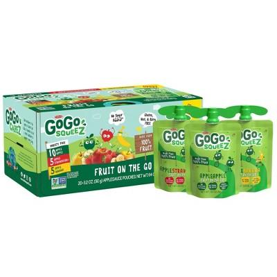 GoGo squeeZ Applesauce, Variety Apple/Banana/Strawberry - 3.2oz/20ct